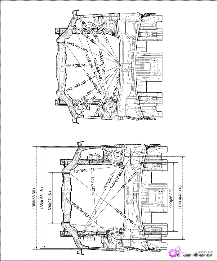 геометрические кузова mitsubishi pajero 1998 года